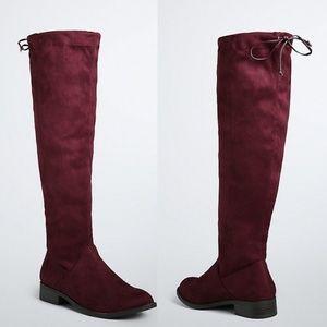 Torrid Burgundy Maroon Knee High Faux Suede Boots
